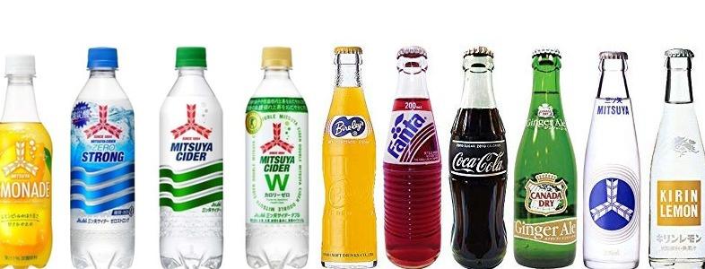 様々な種類の炭酸飲料
