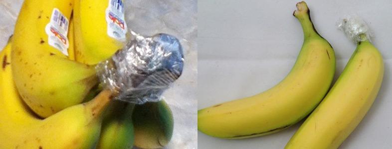バナナの房をラップでくるむ