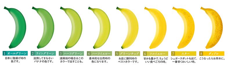 バナナの食べごろを表す皮の色