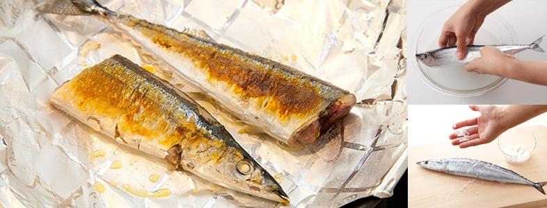 サンマの塩焼きをフライパンで焼く