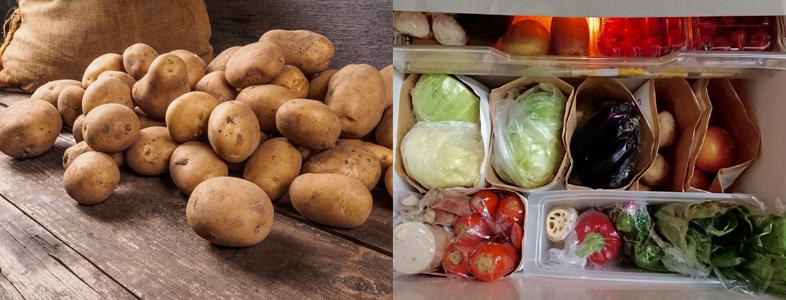 野菜の保存場所を種類別に分ける