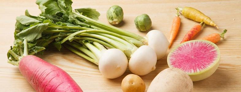 大根や人参、ゴボウや生姜などの根菜類
